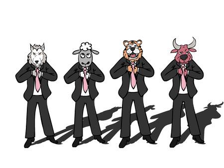 Businessman wild life wolf bull sheep tiger Vector