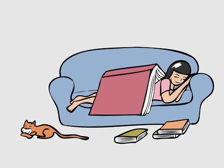 Girl sleeping on couch with a big cook cover her Vector