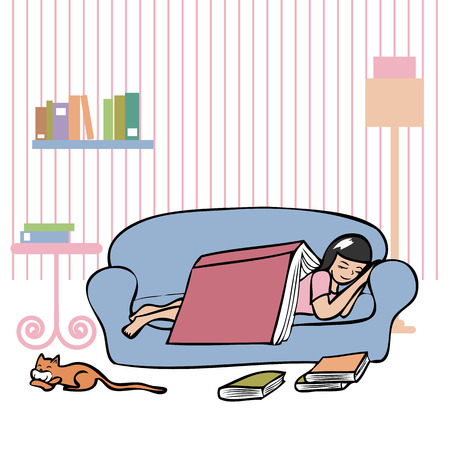 Girl sleeping on couch with a big cook cover her Stock Vector - 27580400