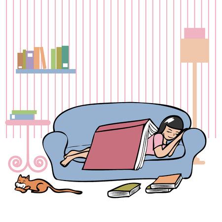 mujer acostada en cama: Muchacha que duerme en el sof� con un gran cocinero cubrir su Vectores