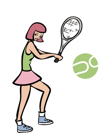 Girl playing tennis cartoon character Vector