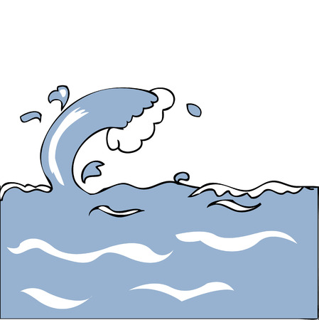 Sea wave cartoon vector drawing Vector