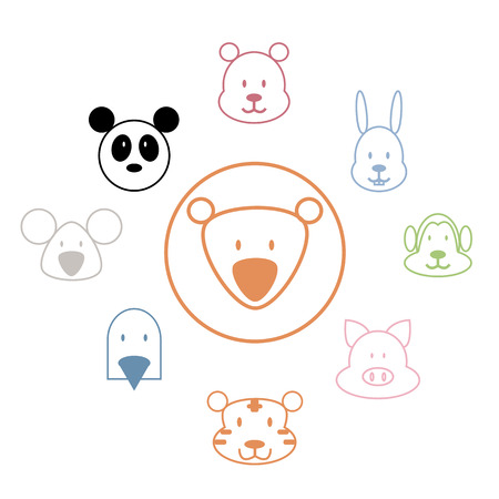 Animal icons zoo collection set Vector