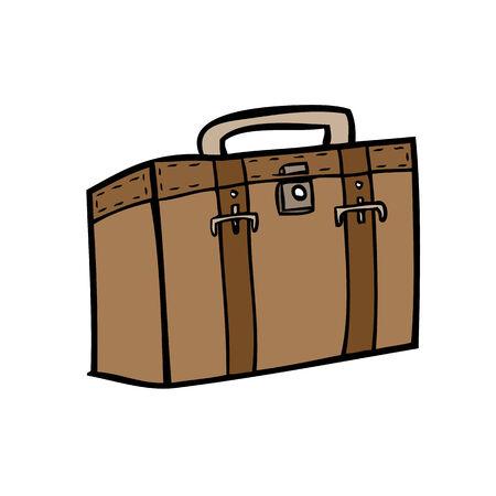 Brown briefcase of business traveler Vector