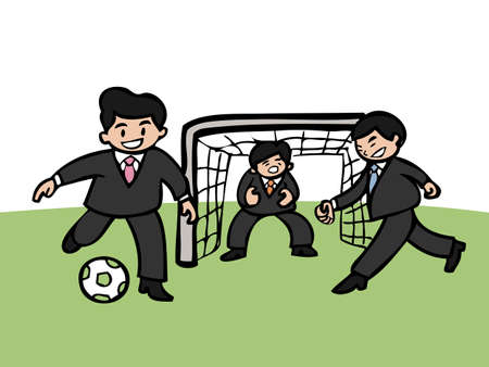 Businessmen playing football with team Vector