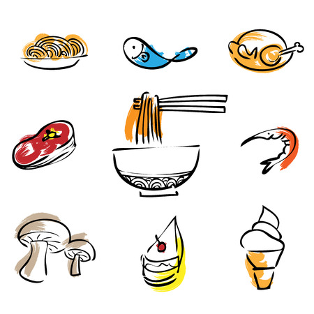chinese noodle: Food restaurant brush line icons set