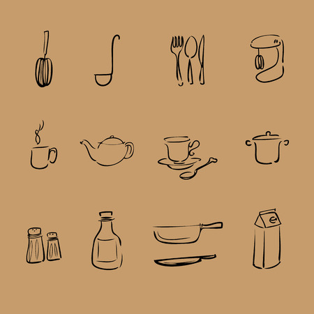 coffee pot: Kitchen brush line vector icons set
