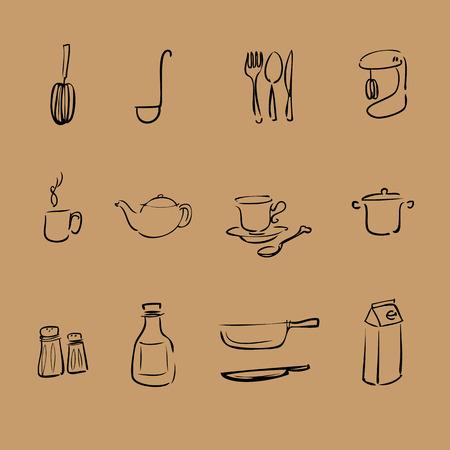 coffee blender: Kitchen brush line vector icons set