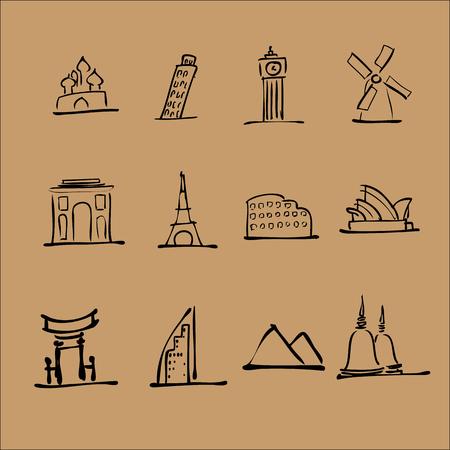 Tourist landmark location icons set Vector