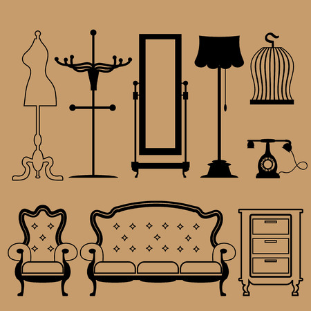 Living room vintage accessories icons set