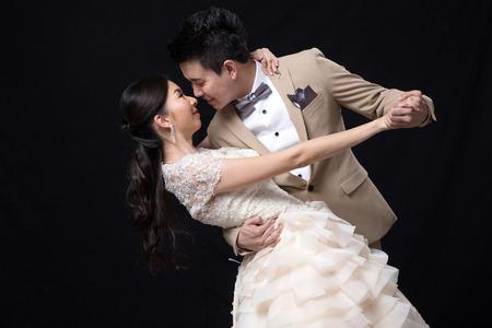 Asian bride and groom wedding photo