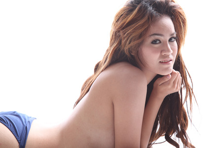 Asian model topless in sexy pose