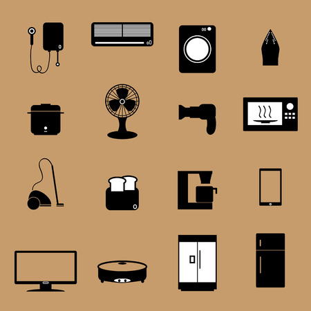 Home electronic appliance icons set