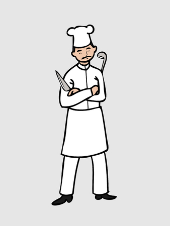 dipper: Mustache chef with knife and dipper