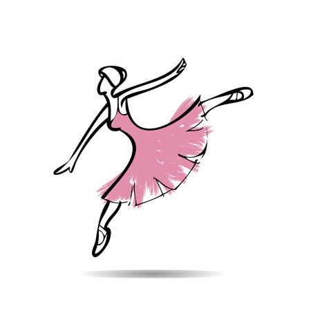 Ballerina perform dancing drawing  Vector