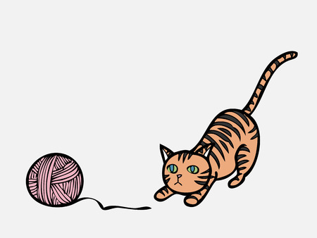 Cat gaze on knit ball Vector