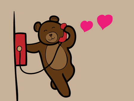 Brown bear talking public phone with love Illustration