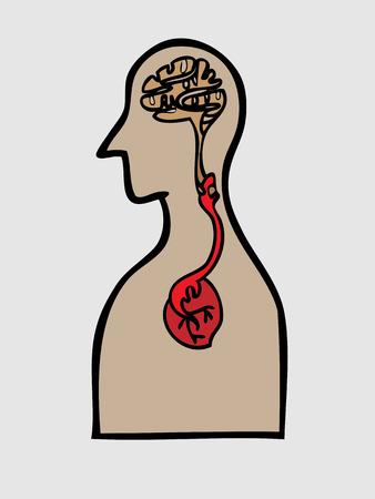Body brain and heart harmony Illustration