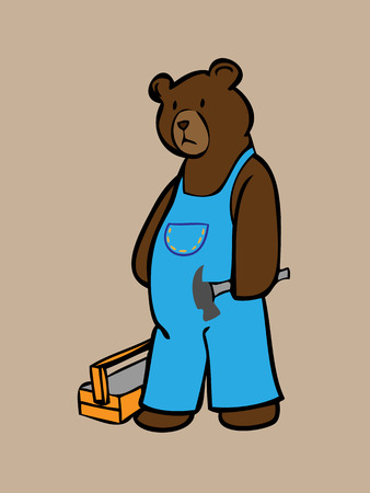 Brown bear in overall jean with hammer Vector