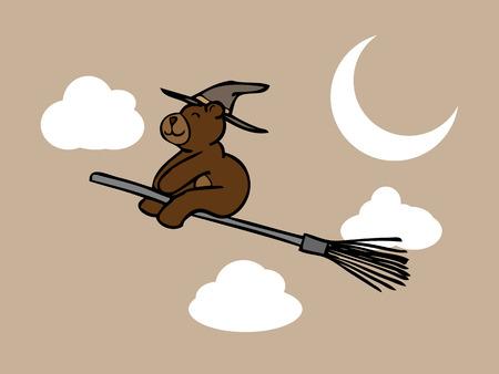 Brown bear wizard riding magic boom in night sky