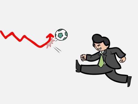 Businessman shooting football to push sales Vector