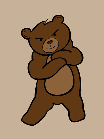 angry teddy: Young brown bear standing cross arms
