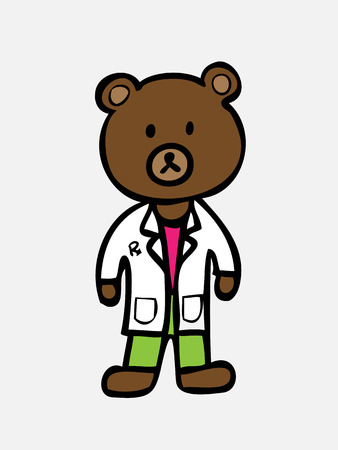 Brown bear in pharmacist uniform Vector