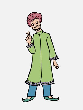 sikh: Sikh Indian man thumb up Illustration
