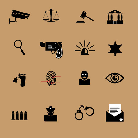 Justice crime and police icons set Vector
