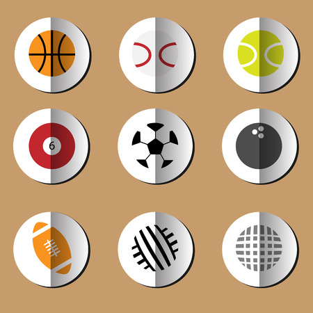 Sport balls game equipment icons set Vector