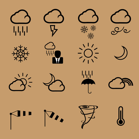 Weather forecast character icons set Vector