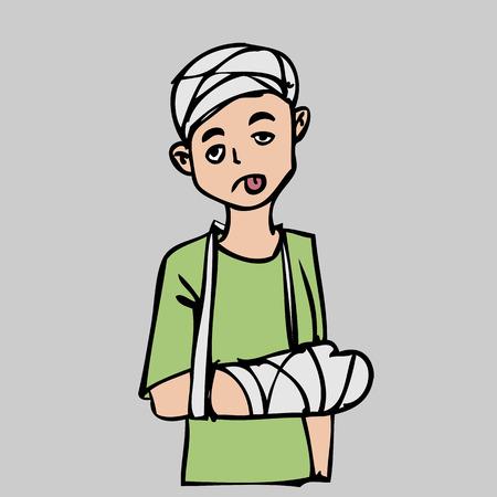 Head and hand injury man cartoon character Vector