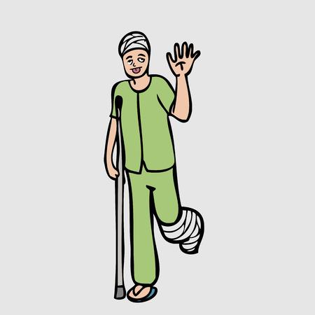 Head and leg injury man cartoon character Vector