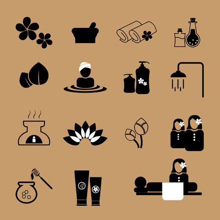 medical shower: Spa and massage icons set