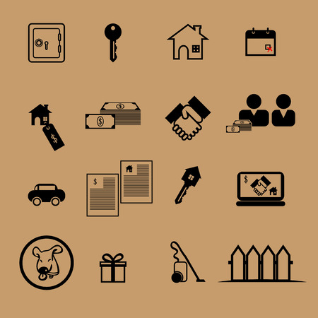 cleaning debt: Home sale flat icon set
