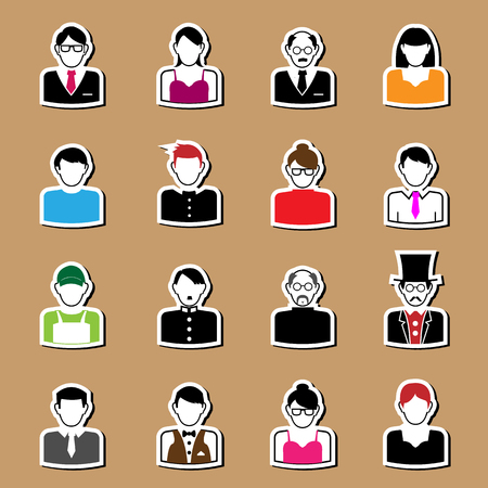 glassed: People career icon character set