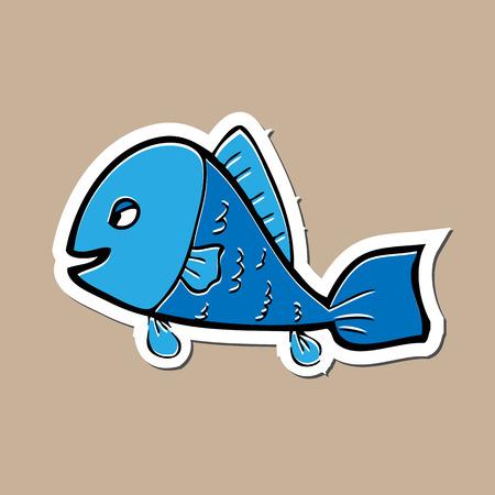 Fish sticker cartoon drawing icon