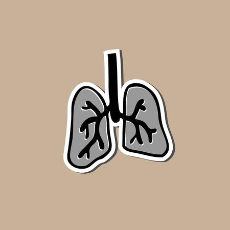 Lung sticker cartoon drawing pad Vector