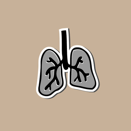 Lung sticker cartoon drawing pad Vector