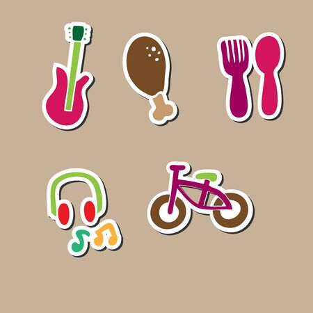 rainbow trout: Food music bicycle entertain icons Illustration