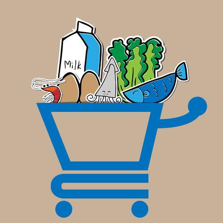 Fresh food in market cart Vector