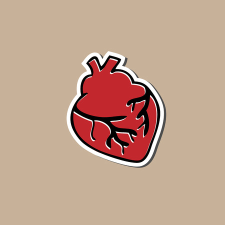 Heart sticker cartoon drawing pad Vector