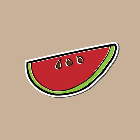 Watermelon cartoon drawing sticker pad Illustration