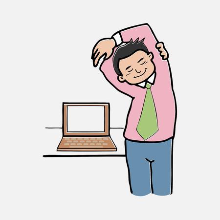 exercices d'affaires de personnage de dessin anim� de bureau