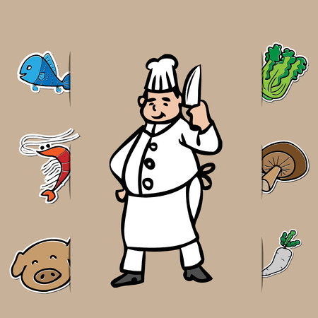 Fat chef with knife and fresh food Vector