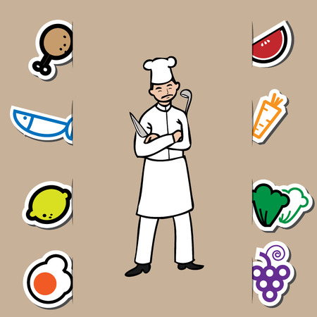 Mustache chef with knife and fresh food Vector