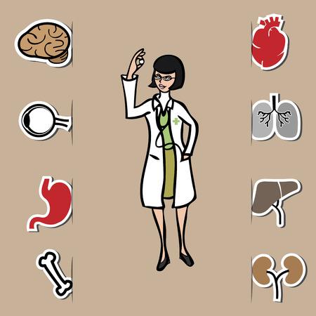 Doctor and human organs cartoon icons set Vector