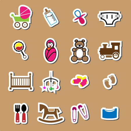 baby diaper: Newborn and baby color icons sticker set