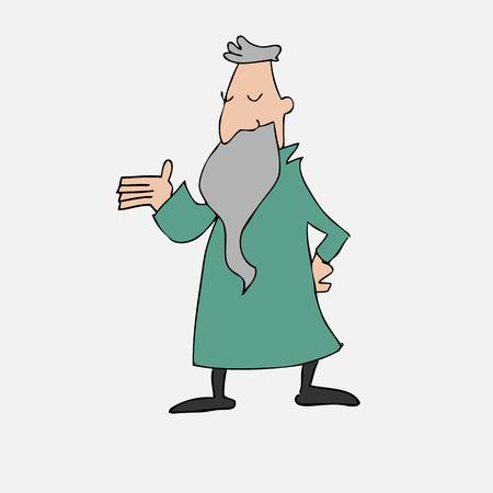 philosopher: Old philosopher with long beard cartoon Illustration