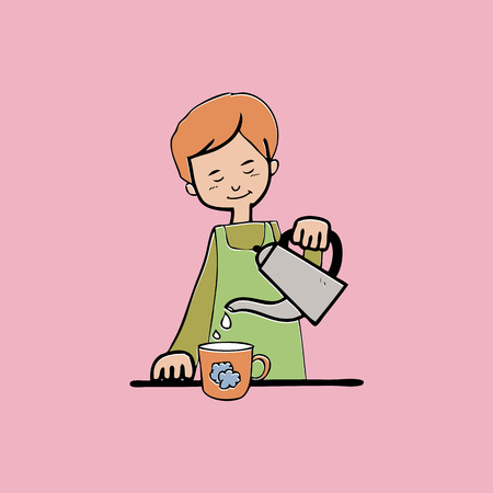 Woman hold teapot pouring cartoon Vector